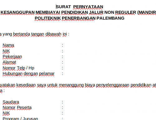 Format Surat Pernyataan Peserta Calon Taruna Mandiri Poltekbang Palembang